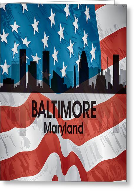 Baltimore Md American Flag Vertical Greeting Card by Angelina Vick