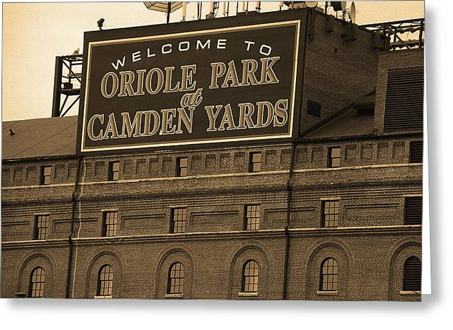 Baltimore Orioles Park At Camden Yards Sepia Greeting Card