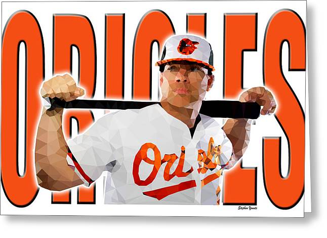 Greeting Card featuring the digital art Baltimore Orioles by Stephen Younts