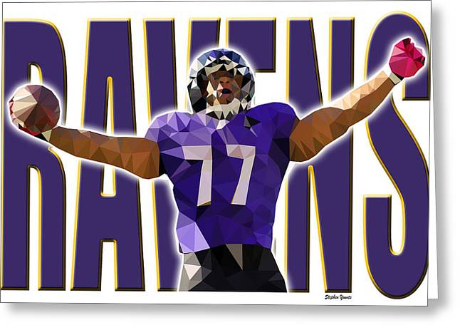 Greeting Card featuring the digital art Baltimore Ravens by Stephen Younts
