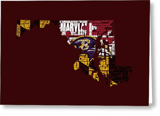 Baltimore Ravens Typographic Map 1a Greeting Card by Brian Reaves