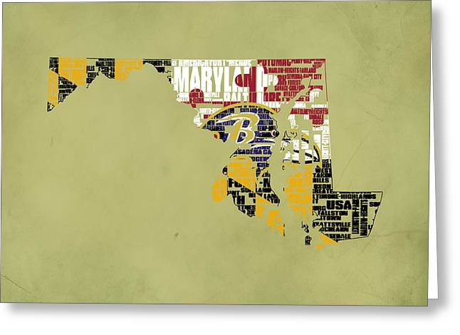 Baltimore Ravens Typographic Map Greeting Card by Brian Reaves