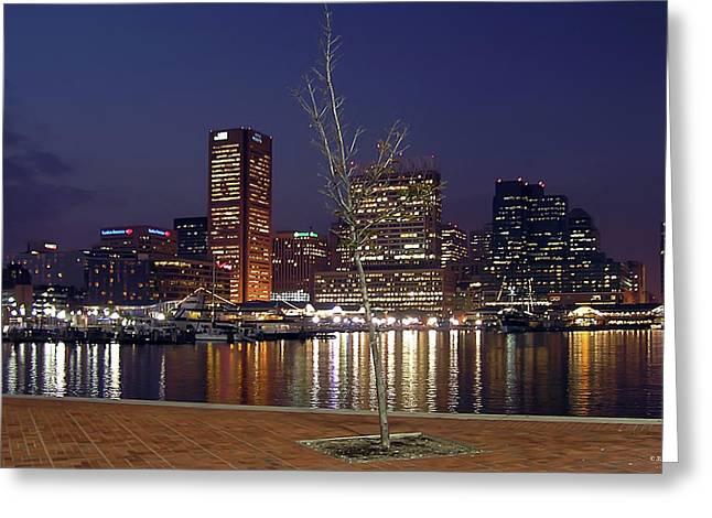Greeting Card featuring the photograph Baltimore Reflections by Brian Wallace