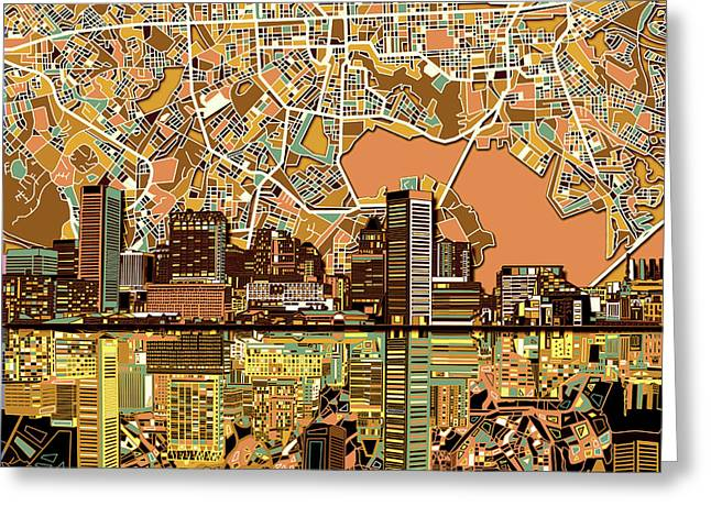 Baltimore Skyline Abstract 2 Greeting Card by Bekim Art