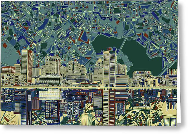 Baltimore Skyline Abstract 3 Greeting Card