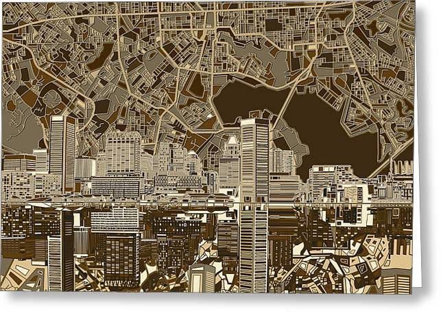 Baltimore Skyline Abstract 5 Greeting Card