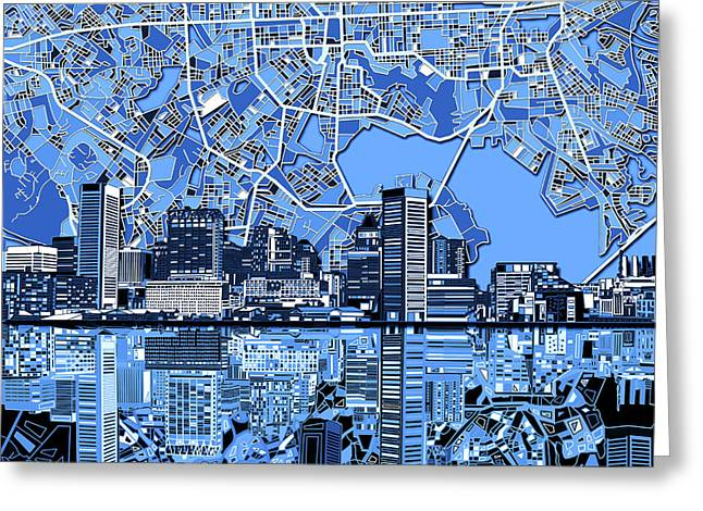 Baltimore Skyline Abstract 6 Greeting Card