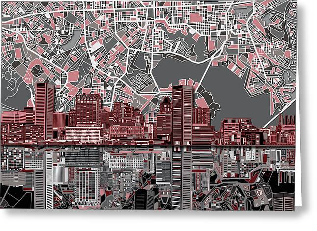 Baltimore Skyline Abstract Greeting Card by Bekim Art