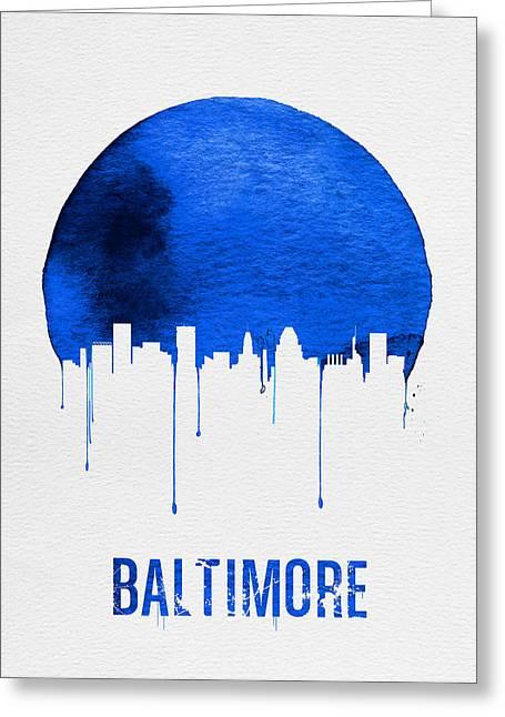 Baltimore Skyline Blue Greeting Card
