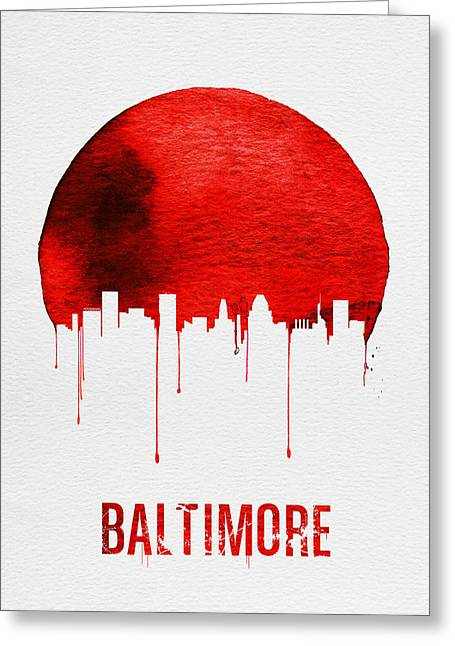 Baltimore Skyline Red Greeting Card