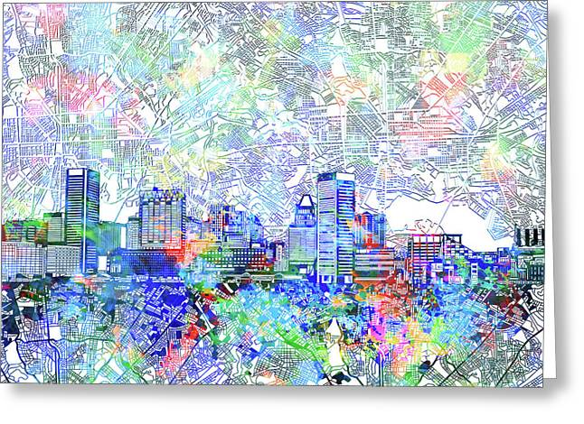 Greeting Card featuring the painting Baltimore Skyline Watercolor 10 by Bekim Art