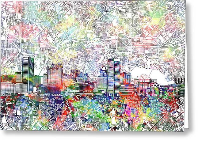 Greeting Card featuring the painting Baltimore Skyline Watercolor 11 by Bekim Art