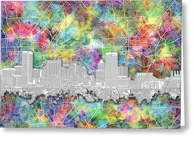 Baltimore Skyline Watercolor 12 Greeting Card