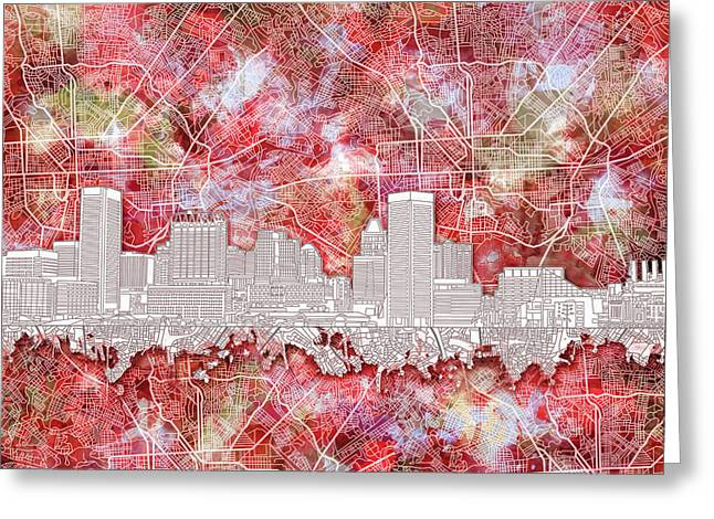Baltimore Skyline Watercolor 13 Greeting Card