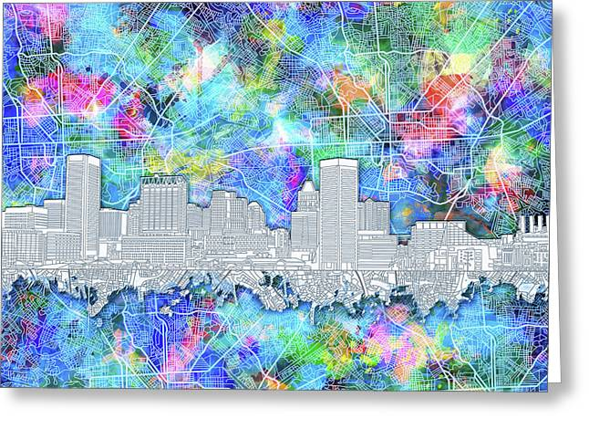 Greeting Card featuring the painting Baltimore Skyline Watercolor 14 by Bekim Art