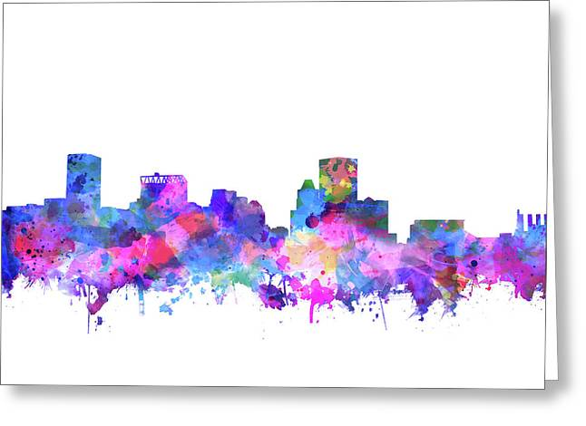 Greeting Card featuring the painting Baltimore Skyline Watercolor 4 by Bekim Art