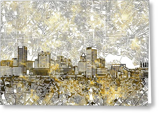 Greeting Card featuring the painting Baltimore Skyline Watercolor 8 by Bekim Art