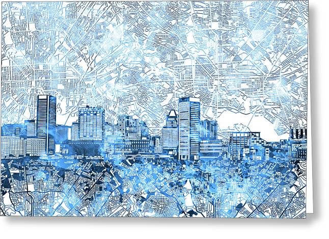 Greeting Card featuring the painting Baltimore Skyline Watercolor 9 by Bekim Art