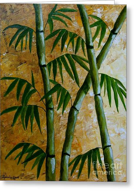 Bamboo Greeting Card by Agusta Gudrun  Olafsdottir