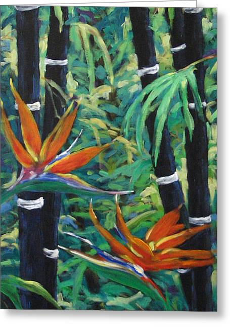 Flowers Direct Greeting Cards - Bamboo and birds of paradise Greeting Card by Richard T Pranke