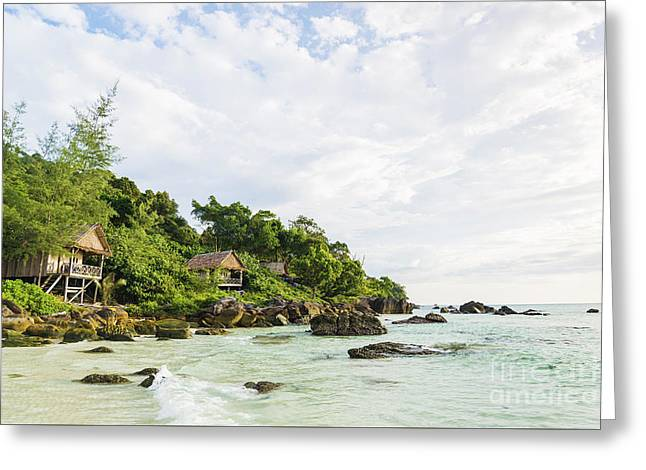 Bamboo And Wood Bungalows In Koh Rong Island Cambodia Greeting Card by Jacek Malipan