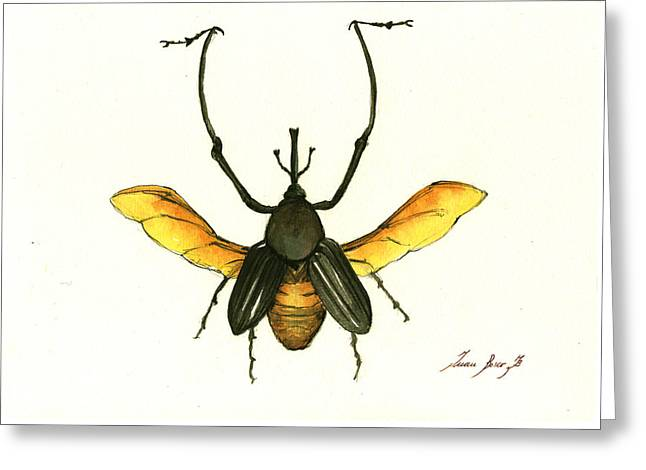 Bamboo Beetle Greeting Card by Juan Bosco