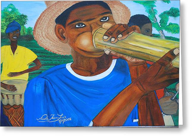 Greeting Card featuring the painting Bamboo Blower In Haiti Rara Festival by Nicole Jean-Louis