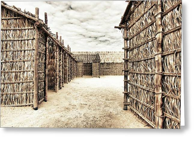 Bamboo Houses In Bahrain Greeting Card by Den Lity