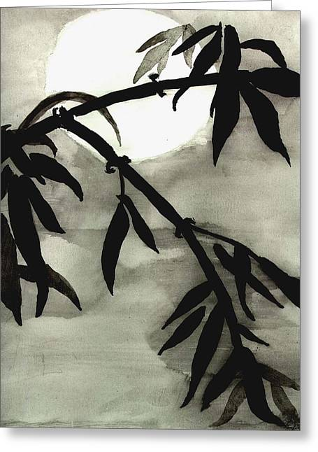 Bamboo In Moonlight - Watercolor Painting Greeting Card