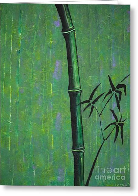 Greeting Card featuring the painting Bamboo by Jacqueline Athmann