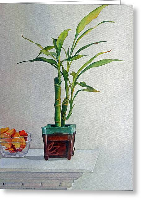 Greeting Card featuring the painting Bamboo by Judy Mercer