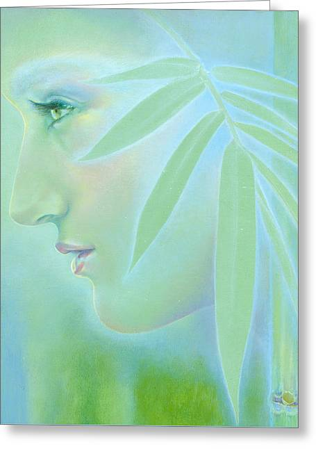 Greeting Card featuring the painting Bamboo by Ragen Mendenhall