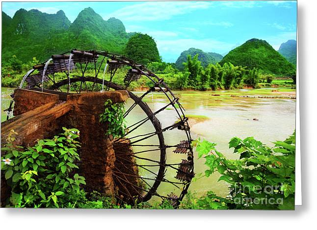 Bamboo Water Wheel Greeting Card