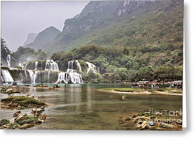 Ban Gioc Waterfall Distance  Greeting Card by Chuck Kuhn