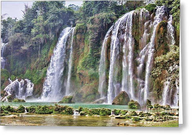 Ban Gioc Waterfall Vietnam II Greeting Card by Chuck Kuhn