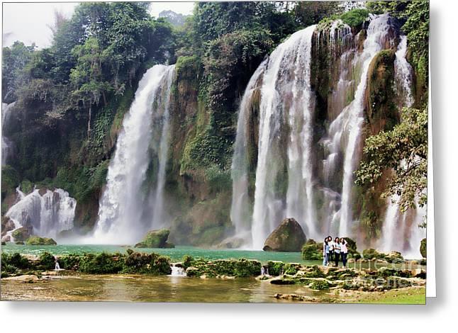 Ban Gioc Waterfalls Vietnam  Greeting Card by Chuck Kuhn