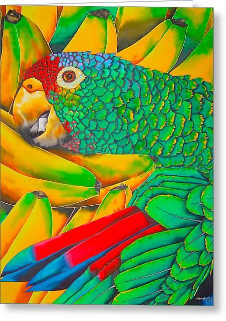 Banana Amazon - Exotic Bird Greeting Card by Daniel Jean-Baptiste