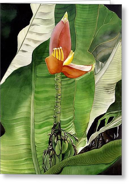 Greeting Card featuring the painting Banana Blossom by Alfred Ng