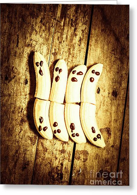 Banana Ghosts Looking To Split At Halloween Party Greeting Card