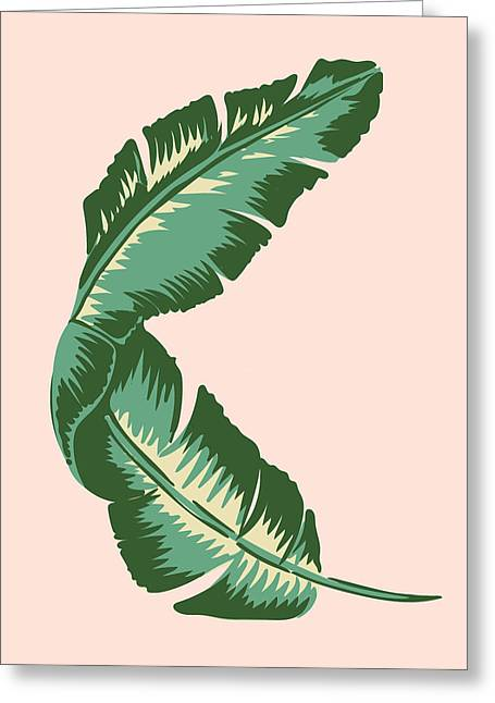 Banana Leaf Square Print Greeting Card by Lauren Amelia Hughes