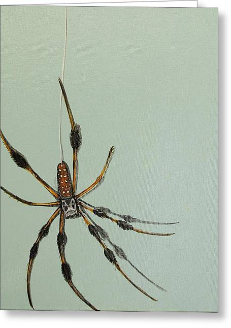 Greeting Card featuring the painting Banana Spider by Jude Labuszewski