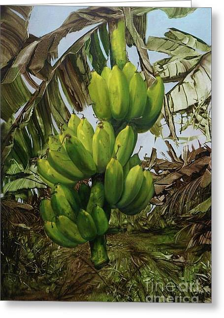 Greeting Card featuring the painting Banana Tree by Chonkhet Phanwichien