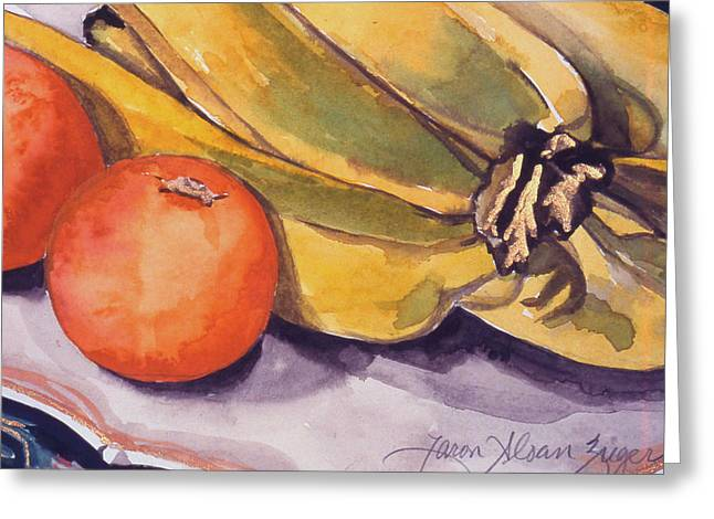 Bananas And Blood Oranges Still-life Greeting Card by Caron Sloan Zuger