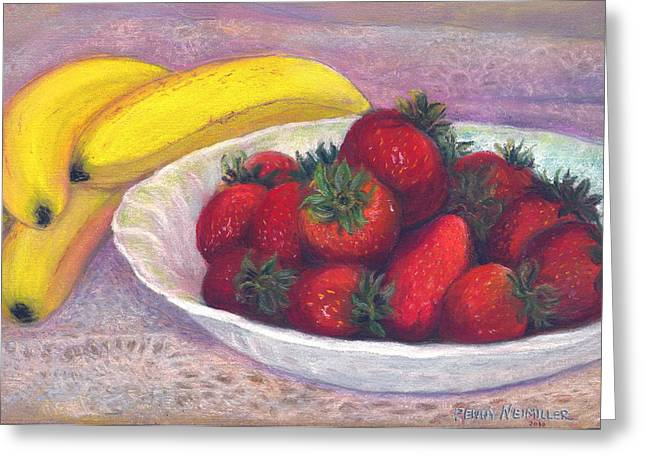 Cloth Pastels Greeting Cards - Bananas and Strawberries Greeting Card by Penny Neimiller