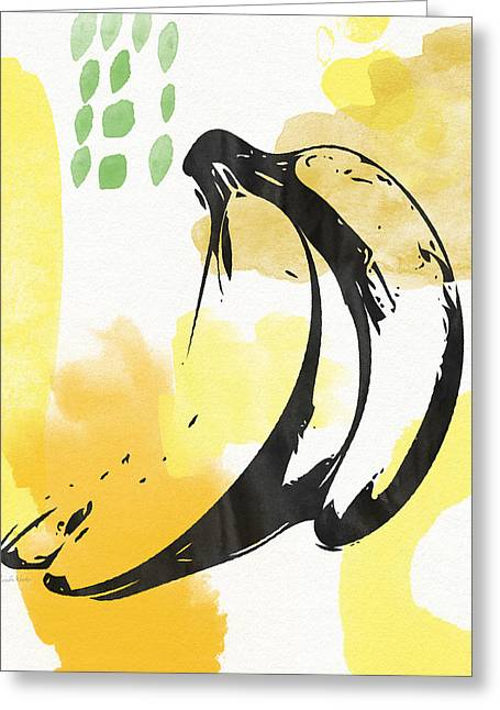Bananas- Art By Linda Woods Greeting Card