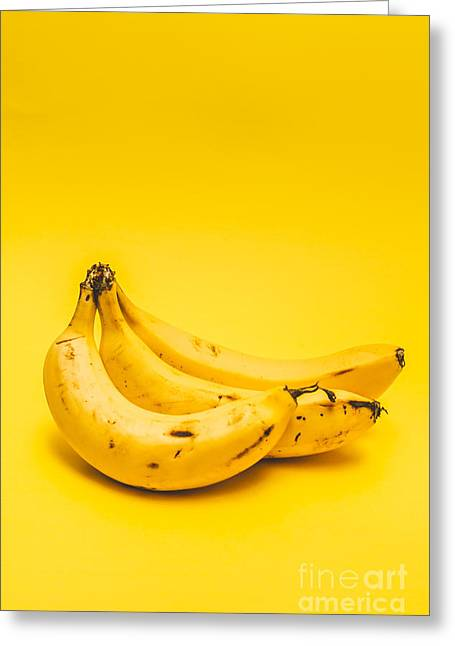 Bananas On Yellow Background Greeting Card