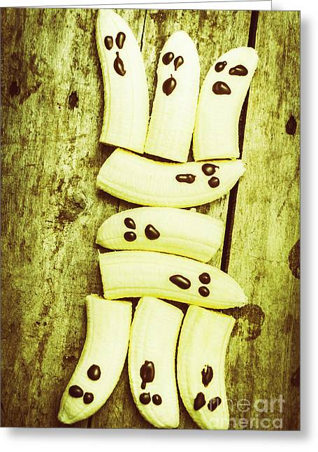 Bananas With Painted Chocolate Faces Greeting Card