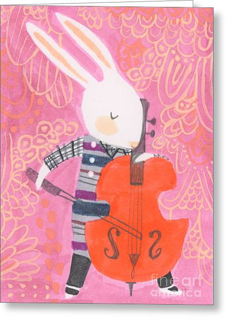 Cello Band Geek Greeting Card by Kate Cosgrove