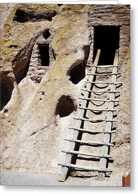 Greeting Card featuring the photograph Bandelier Desert Ladder by Andrea Hazel Ihlefeld