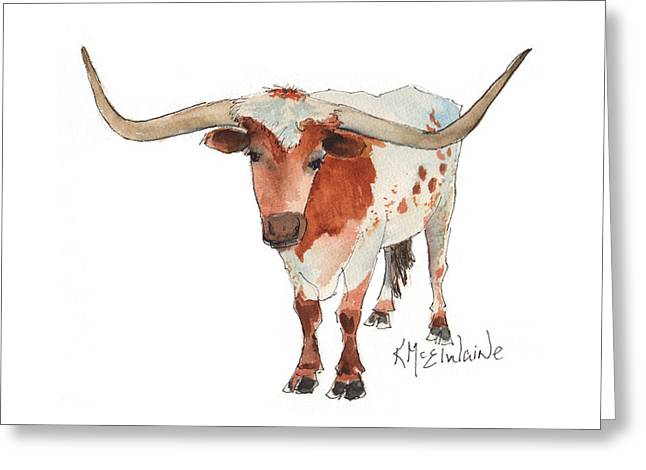 Texas Longhorn Bandero Watercolor Painting By Kmcelwaine Greeting Card